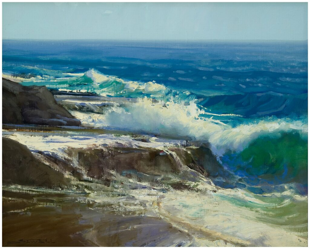"Jeff Sewell ""South Swell, South Laguna"" (16"" x 20"" oil)"