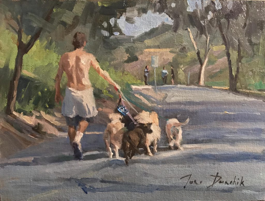 Laguna Plein Air Artist Toni Danchik - Dog Walker 2