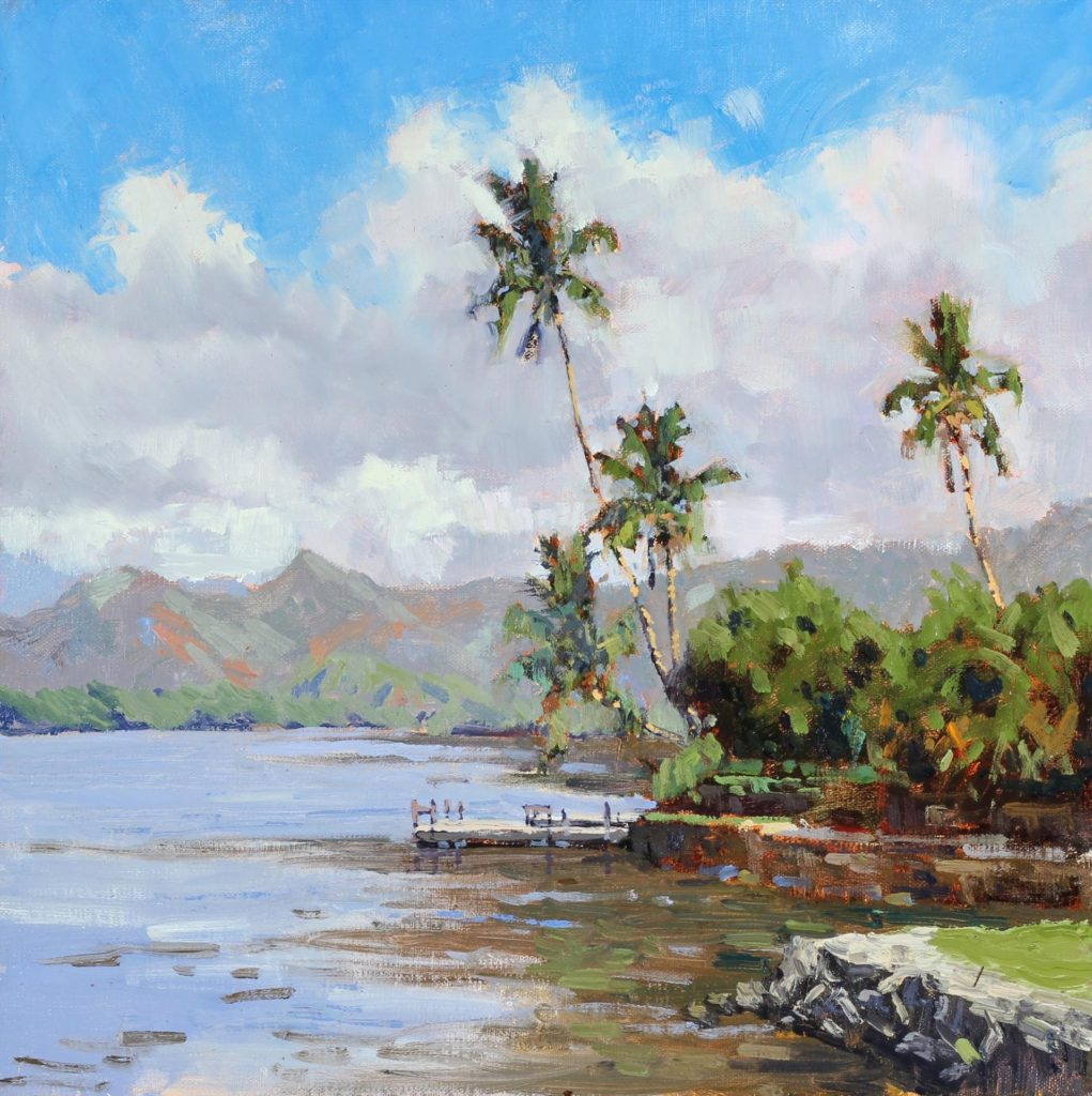 "Laguna Plein Air Artist Pierre Bouret for ""Wailua River"""