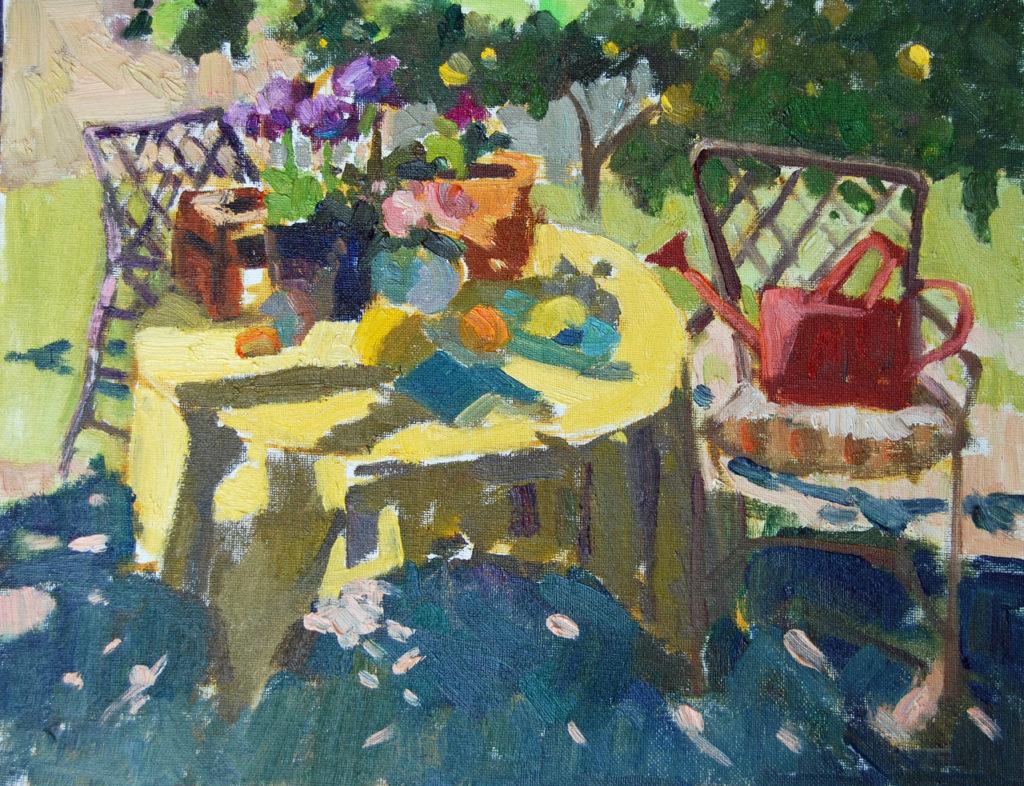 laguna plein air artist laurie hendricks sunlit garden