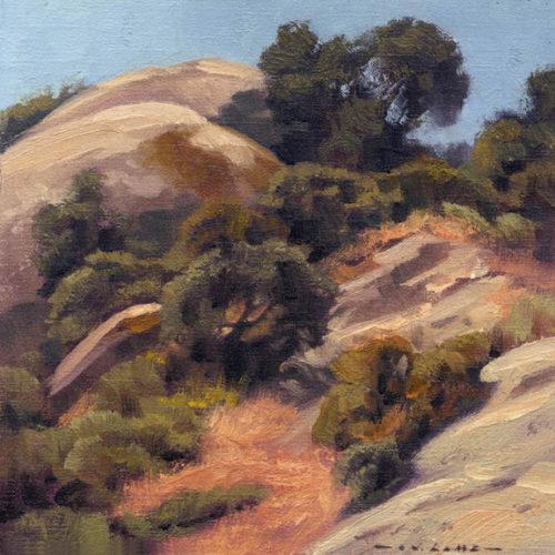 laguna plein air artist jim lamb-Limestone & Oaks-Laguna Canyon