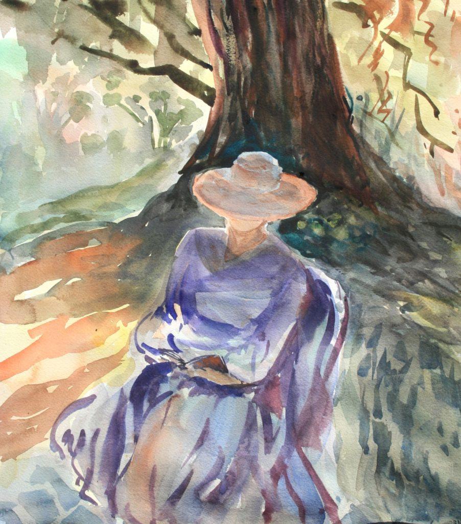 Laguna Plein Air Artist Wendy Li-Betrams Women in the Garden (16x20 watercolor)-award