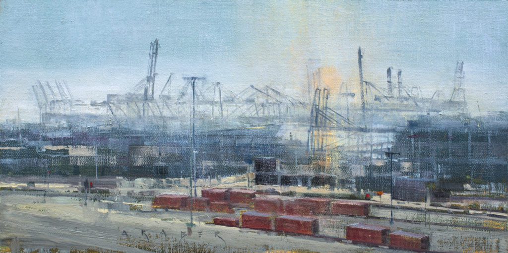 "April Raber, Harbor Haze II, 8"" x 16"", Oil on linen"