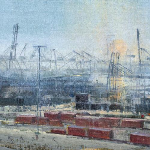 "April Raber, Harbor Haze II, 8"" x 16"", Oil on linen"