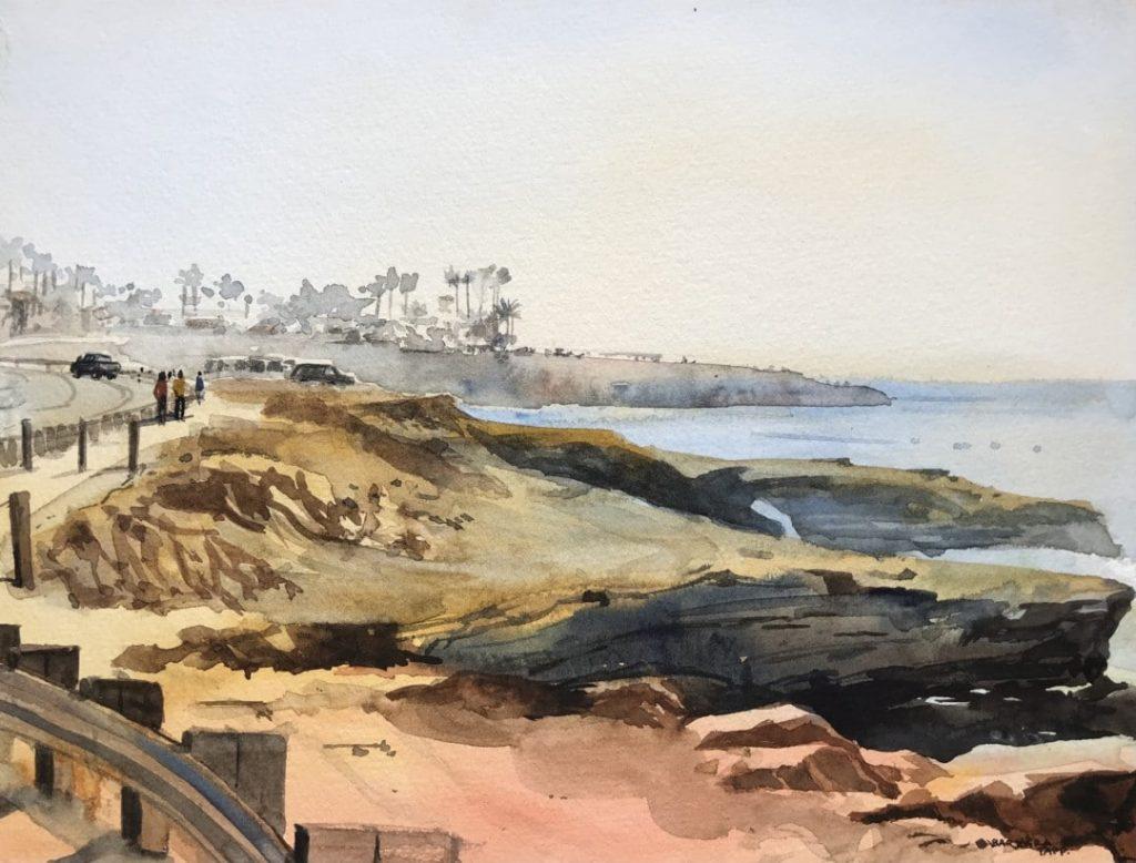 """Best Artist Over 65 """"Velvet Light at Sunset Cliffs"""" by Barbara Tapp"""