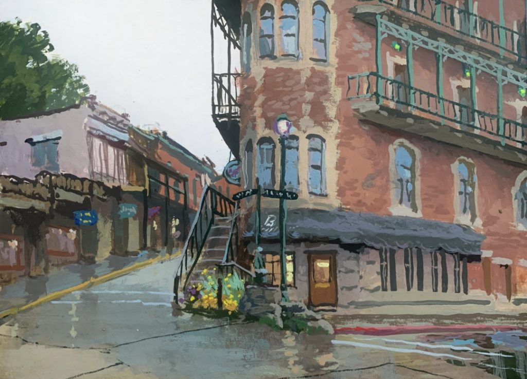 "PleinAir Salon Best Watercolor & Gouache ""The Flatiron, Eureka Springs"" by Bob Upton (6x8 gouache)"