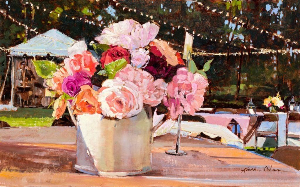 "PleinAir Salon Best Still Life ""Table 19"" by Kathie Odom (18x28 oil)"