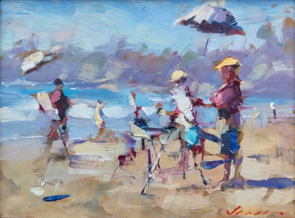 "2021 Southwest Art Quick Draw Award ""Painters on the Beach"" by Ryan Jensen"